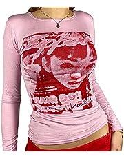 Kvinnor magtröja Y2k ansikte grafisk långärmad T-shirt E-Girl Harajuku t-shirt estetisk sommarblus