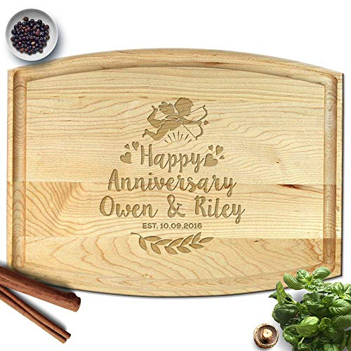 - Froolu Cupid & Hearts wooden carving board for First Anniversary Christmas Gifts