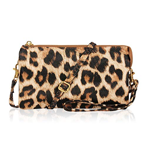 Convertible Vegan Leather Wallet Purse Clutch - Small Handbag Phone/Card Slots & Detachable Wristlet/Shoulder/Crossbody Strap (Pebbled - Leopard) (Women Wallet Animal Print)