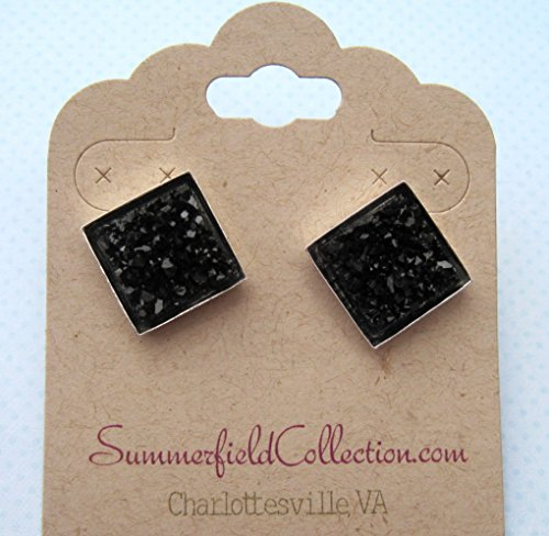 Silver-tone and Black Geometric Square Shaped Chunky Faux Druzy Stud Earrings 12mm Statement (Tone Faceted Jet)