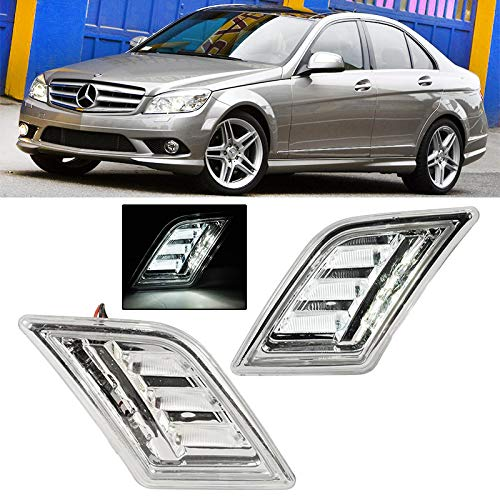 LED Side Markers For Mercedes-Benz C-Class 08-11 Front Bumper Clear Reflectors