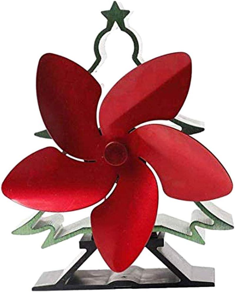 Creacom Ventilador Chimenea Alimentado por Calor árbol Navidad, Ventilador Chimenea Alimentado por Calor árbol Navidad con 5 Cuchillas Ventilador Estufa Hogar silencioso Estufa leña roja