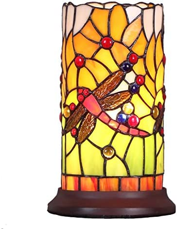Bieye L10650 Dragonfly Tiffany Style Stained Glass Mini Table Lamp with Cylindrical Shade, 10 inch Tall
