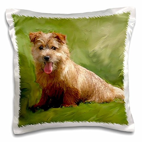 "3dRose Norfolk Terrier Throw Pillow Covers, 16"" x 16"", White"