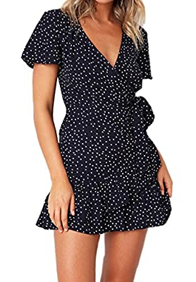 Relipop Summer Women Short Sleeve Print Dress V Neck Casual Short Dresses