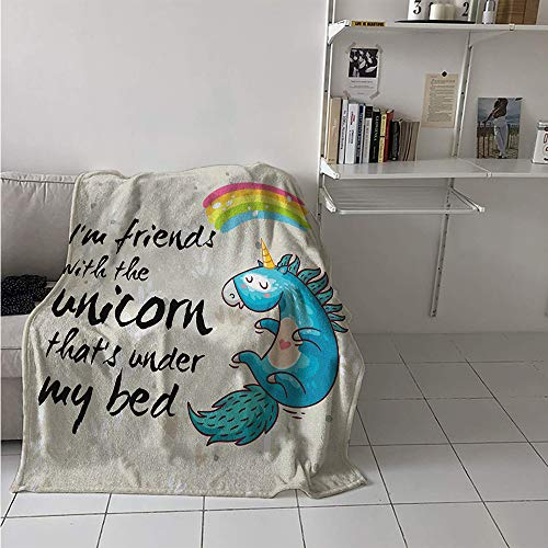 Little Pony Custom Art - Super Soft Lightweight Blanket, Unicorn Dreaming with Rainbow Magical Myst Epic Creature Pony Grace Artwork, Custom Design Cozy Flannel Blanket 70x50 Inch Cream Blue Black