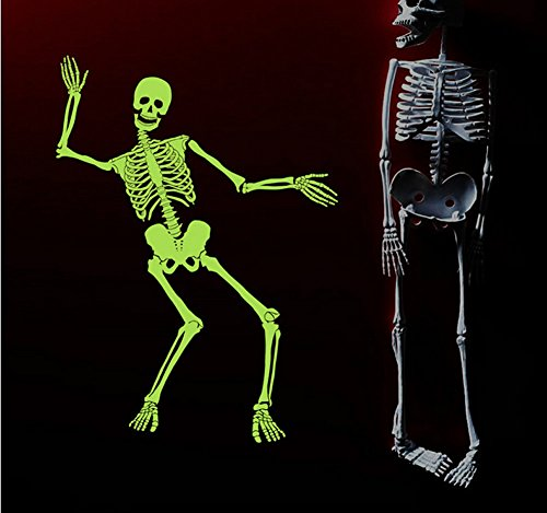 Happy Halloween Spooky Skull Skeleton Wall Decals Creative Luminous Stickers Halloween Decorations for Kids Rooms Nursery Halloween Party (Good Pranks Halloween Night)