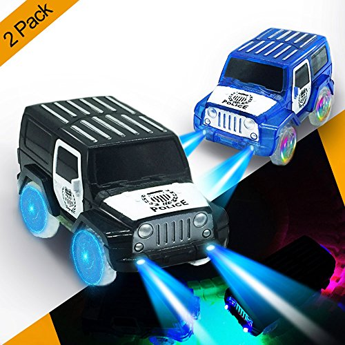 Track Cars,Replacement Toy Light up Car Track (2-Pack) Glow in the Dark Racing Track Accessories Compatible with Most Tracks,Surprise Gift for Boys and Girls