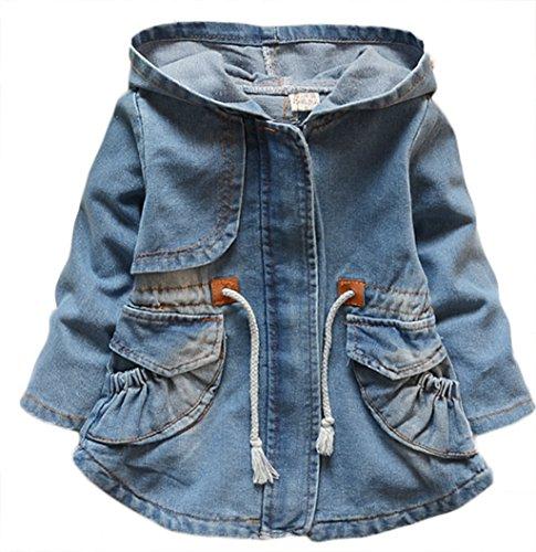 Little Girls Spring Autumn Fashion Hooded Denim Windproof Jackets Ziper Coats, (Belted Denim Coat)
