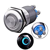 Ulincos Latching Pushbutton Switch U16B2 1NO ON/OFF Silver Stainless Steel Shell with Blue LED Ring Suitable for 16mm 5/8