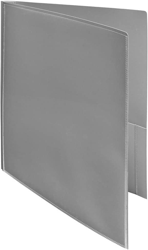 Ultra Pro - 2-Pocket Folders with 3-Prong Fastener and Clear Outside Pocket-Grey