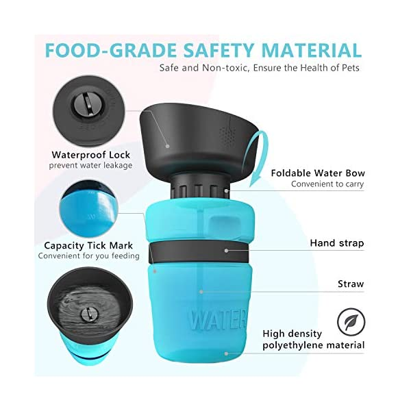 lesotc Pet Water Bottle for Dogs, Dog Water Bottle Foldable, Dog Travel Water Bottle, Dog Water Dispenser, Lightweight & Convenient for Travel BPA Free 2
