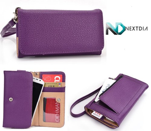 Samsung I8530 Galaxy Beam [Purple] Slim Universal Wallet Case and a NextDia ™ Velcro Cable Wrap