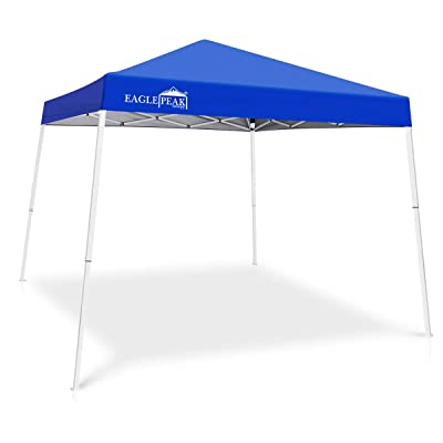 EAGLE PEAK 10' x 10' Slant Leg Pop-up Canopy Tent Easy One Person Setup Instant Outdoor Canopy Folding Shelter with 64 Square Feet of Shade (Blue) : Garden & Outdoor