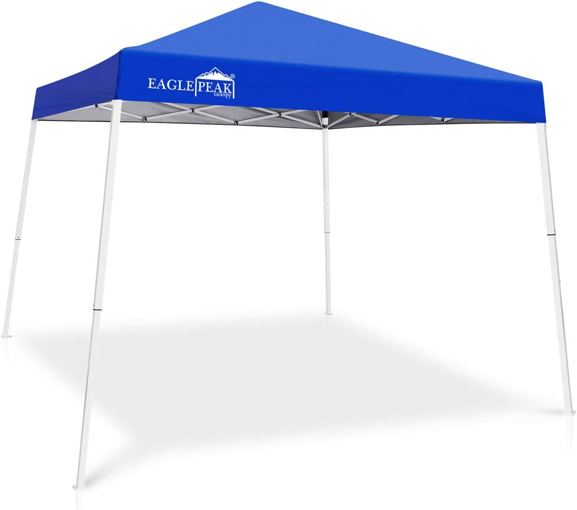 EAGLE PEAK 10 x 10 Slant Leg Pop-up Canopy Tent Easy One Person Setup Instant Outdoor Canopy Folding Shelter with 64 Square Feet of Shade Blue