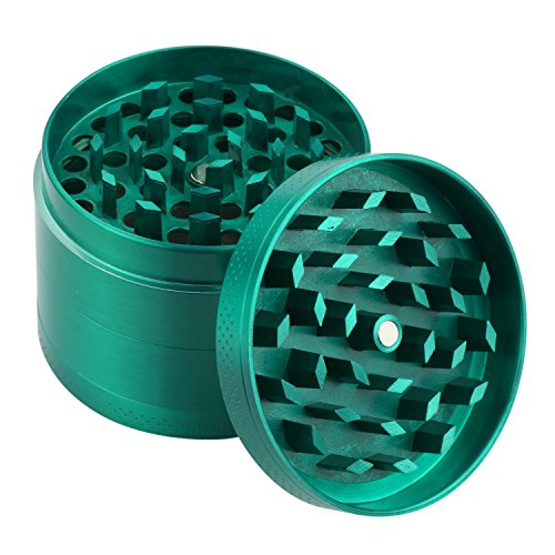 DCOU New Design Premium Zinc Alloy Herb Tobacco Grinder 2.2 Inches 4 Piece Metal Grinder with Pollen Catcher with Laser Flower Pattern Green by DCOU (Image #3)