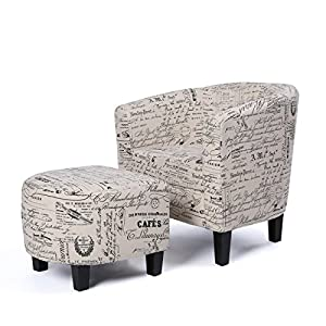 Belleze Accent Club Chair with Ottoman Modern Stylish Round Arms Curved Back French Print Script Linen Fabric