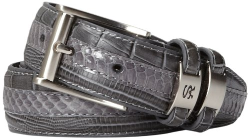 Stacy Adams Men's 35mm Genuine Snakeskin With Leather Embossed Crocodile And Lizard (Leather Crocodile Belt)
