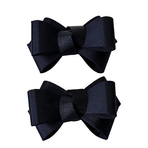 Douqu Pair Ribbon Big Bow Butterfly Shoe Clips Shoe Ornaments Shoe Ribbon Charm Accessory (Black) (Bow Shoe Clips)