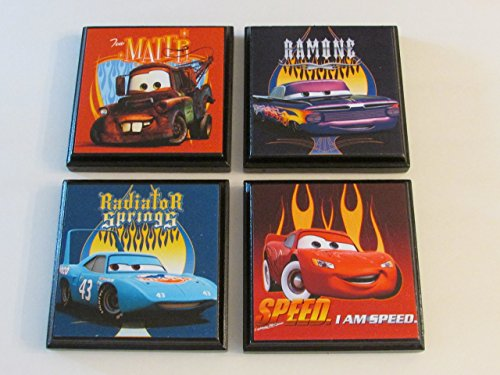 Disney Wall Plaque - Disney Cars Room Wall Plaques - Set #1 - Set of 4 Disney Cars Boys Room Decor - Cars Room Sign