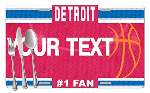 BRGiftShop Personalized Custom Name Basketball Team Detroit Set of 4 Table Placemats
