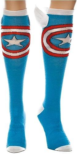 NWT Marvel Captain America  3D Red Hearts Ladies Socks Blue Knee High Wings NEW