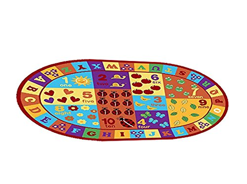 Furnish my Place Kids ABC Area Rug Educational Alphabet Letter and Numbers Multicolor Actual Size Anti-Skid, Oval by Furnish my Place (Image #4)