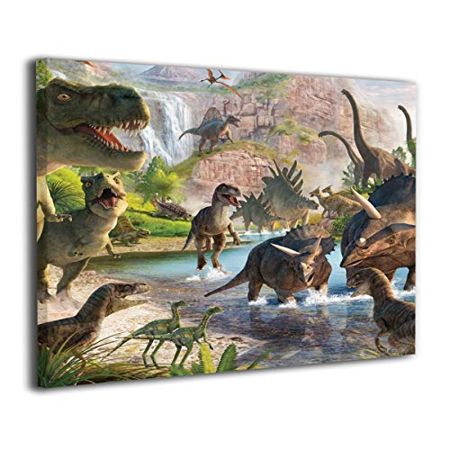 Little Monster Animated Dinosaur Paradise Stretched Pictures On Canvas Home Decorations Occident Style Art for Boys and Girls Bedroom