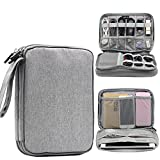 Honeystore Universal Double Layer Travel Gear Organizer Portable Electronic Accessories Storage Case Gadgets Organizer Bag for iPad Mini, USB Cable, Plug, Flash Drive, Charger, Earphone and More Gray