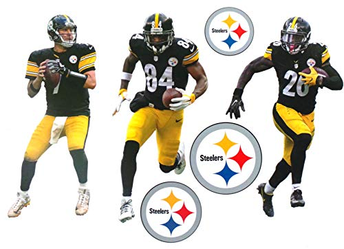 """FATHEAD Pittsburgh Steelers Mini Graphics Team Set 3 Players + 3 Steelers Logo Official NFL Vinyl Wall Graphics 7"""" INCH Each"""