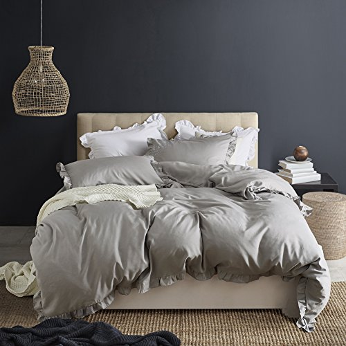 Queen Duvet Cover Set Lightweight Soft Solid Color 3PC Bedding Set with Exquisite Flouncing by Hyprest Light grey (Ruffle Bedding Queen)