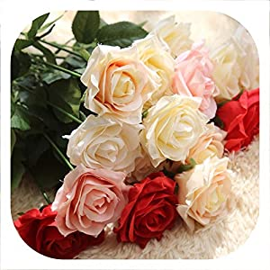 Memoirs- 10Pcs Fake Artificial Roses Bouquets Party Artificial Flowers for Wedding Decoration Flower for Wedding Home Decoration 28