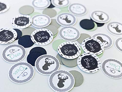 Light Gray, Navy Blue, Mint green Woodland Oh Deer Baby Shower Table Confetti, Its A Boy Baby Shower Table Scatter