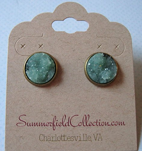 Antiqued Gold tone Green Druzy Earrings