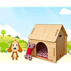 %Dogs Beds Wooden Dog House Pet Lodge Dog Kennel Removable Dog House Indoor Outdoor Pet House Doghouse-X411 Pet Supplie (Size : M)