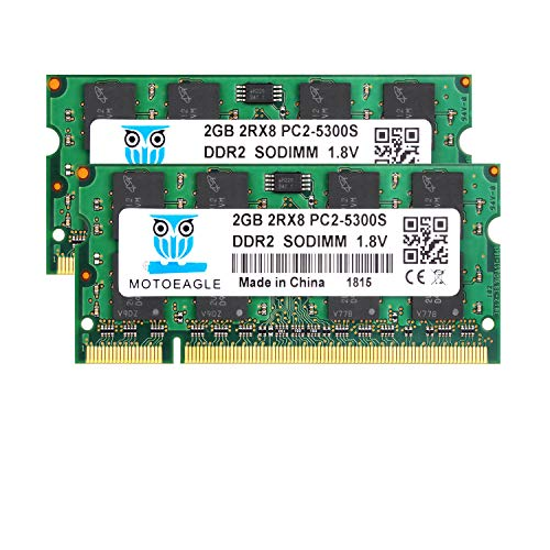 DDR2 667 MHz PC2-5300 4GB (2x2GB) Ram SODIMM, Motoeagle 2Rx8 PC2-5300S CL5 RAM Laptop