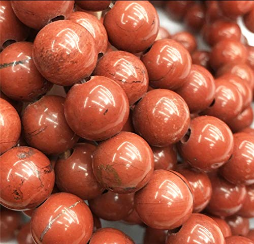 [ABCgems] 2.5mm Large Hole African Apple Jasper AKA Red Jasper (Beautiful Color) 12mm Smooth Round Beads. Approx 8 Inches ()