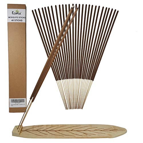 ECOHU Mosquito Repellent Sticks - All Natural Insect Repellent Incense Sticks - Eco friendly - non toxic - Bamboo Infused with Lemongrass & grapefruit peel (Pack of 40)