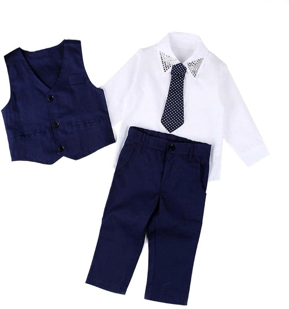 Malloom 1Set Ropa de bebé niños caballero trajes camisas + chaleco ...
