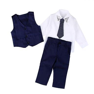 Covermason Niños Trajes de Boda Camisetas y Chaleco y Largos Pantalones y Corbata (1 Conjunto) (3Años, Azul)