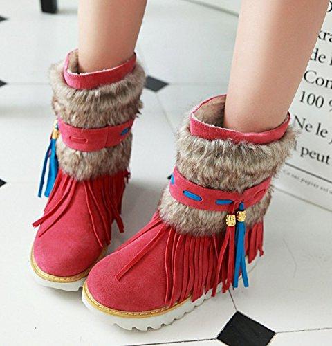 Aisun Snow Slip Platform Ankle Round Red Tops On Unique Shoes Flats High Fringe Boots Warm Women's Toe FYOFqrx