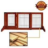 Simply Plus Wooden Pet Gate, Freestanding Pet Dog Gate, For Indoor Home & Office Use. Keeps Pets Safe . Easy Set Up, No Tools Required- Small
