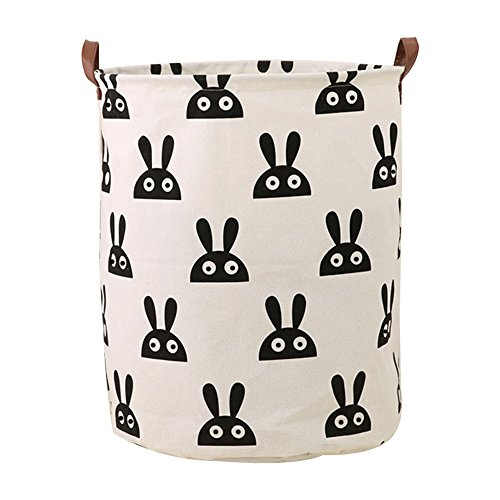 "Outdoorfly Canvas Laundry Hamper with Handles Large Folding Laundry Baskets 15.7""x19.7"" Closet Bedroom Storage Bags Nursery Dolls Toy Organizer Bins for Baby,Boys and Girls"