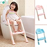 Generic Foldable Kids Children Babies Toddlers Toilet Potty Trainer Seat With Ladder Kit (Blue)