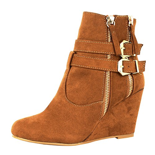West Blvd Guilty Shoes - Womens Ankle Wedge - High Heel Fashion Zipper Platform - Ankle Bootie Boots, Tan1 Suede, 8.5