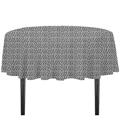 kangkaishi Leopard Print Leakproof Polyester Tablecloth Black and White Graphic Style Wild Jungle Animal Abstract Skin with Spots Outdoor and Indoor use D35.4 Inch Black White
