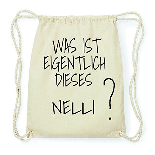 JOllify NELLI Hipster Turnbeutel Tasche Rucksack aus Baumwolle - Farbe: natur Design: Was ist eigentlich Wtclpotc