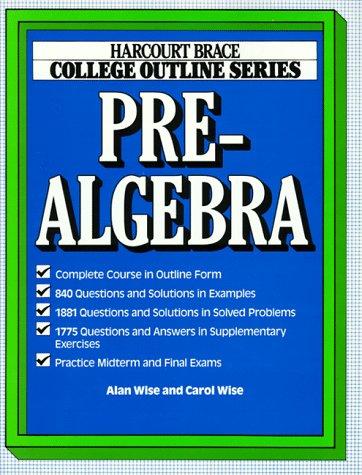 Pre Algebra Step (College Outline for Prealgebra (Books for Professionals))