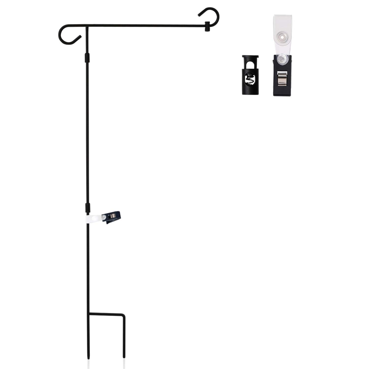 Bon Anley |Garden Flag Stand| Premium Wrought Iron Garden Flag Pole Holder    Weather Resistant Black Matte Coating   Easy Assemble   Free Flag Stopper  And ...