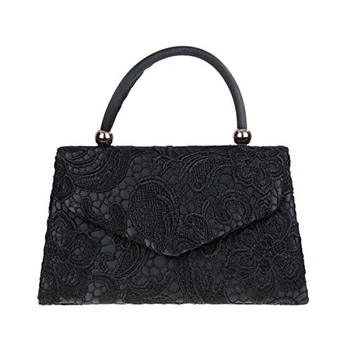 Xardi Lace Bridal Handled Clutch Floral Evening Designer Women London UK Black Satin Handbag Ladies rPrqw1I